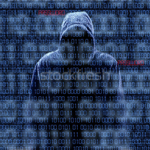 Silhouette of a hacker isloated on black Stock photo © aetb
