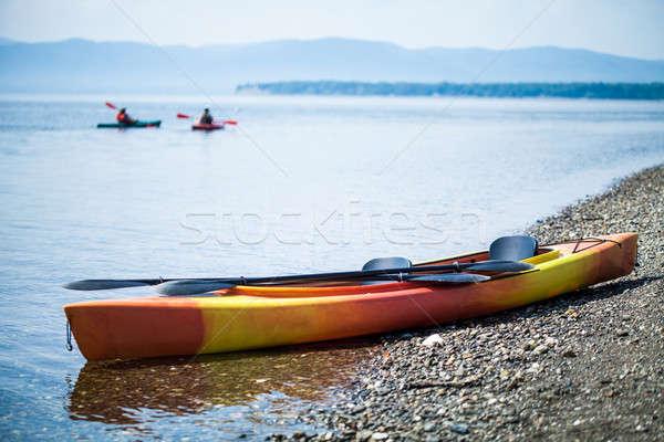 байдарках морем берега оранжевый желтый красивой Сток-фото © aetb