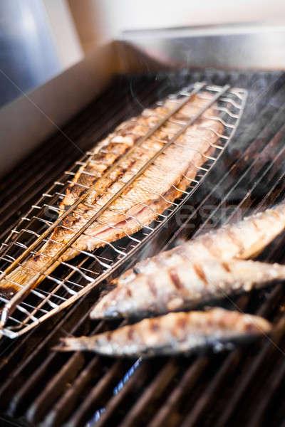 Balık ızgara gıda deniz yaz restoran Stok fotoğraf © aetb
