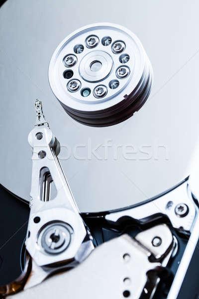 Harde schijf mechanisme details arm computer veiligheid Stockfoto © aetb