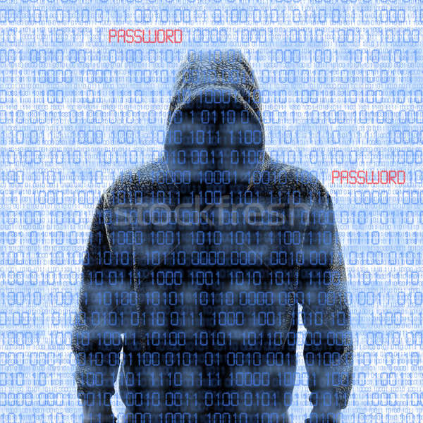 Silhouette of a hacker isloated on white Stock photo © aetb