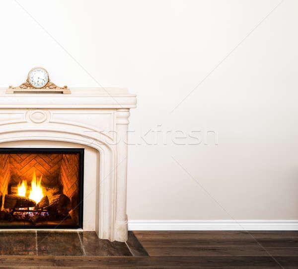 Lüks beyaz mermer şömine boş duvar Stok fotoğraf © aetb