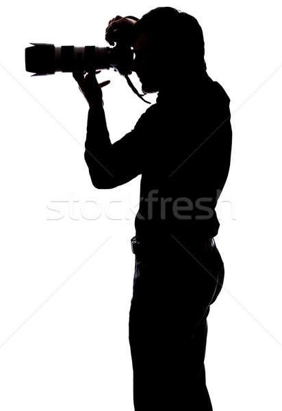 Professionele fotograaf foto silhouet geïsoleerd Stockfoto © aetb