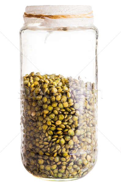 Wet Sprouting french Lentils in a Glass Jar Stock photo © aetb