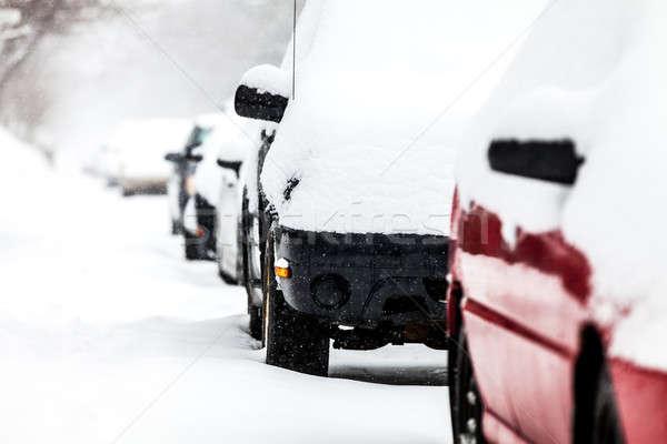 Carros inverno dia rua estrada neve Foto stock © aetb
