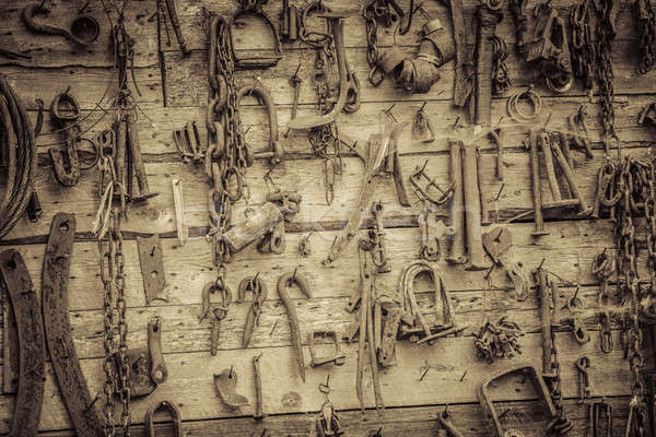 Wall Filled with Old Tools Hanging on the wall Stock photo © aetb