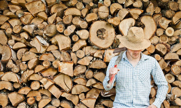 Woodcutter with straw hat on a background of wood Stock photo © aetb