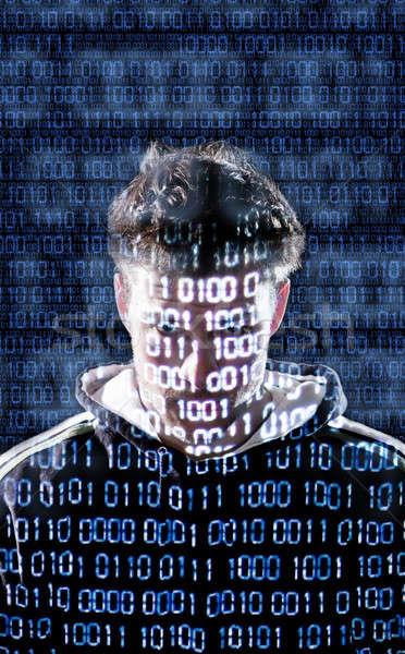 Hacker néz közvetlenül kamerába bináris biztonság Stock fotó © aetb