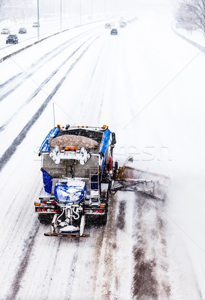 Stockfoto: Sneeuw · snelweg · vrachtwagen · koud · winter · dag
