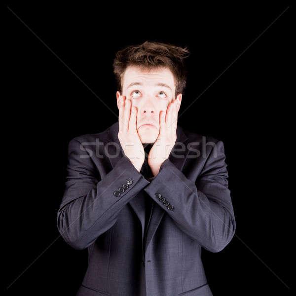 отчаяние бизнесмен изолированный черный более грусть Сток-фото © aetb