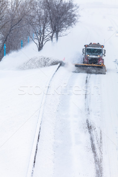 Snowplow removing the Snow from the Highway during a Snowstorm Stock photo © aetb