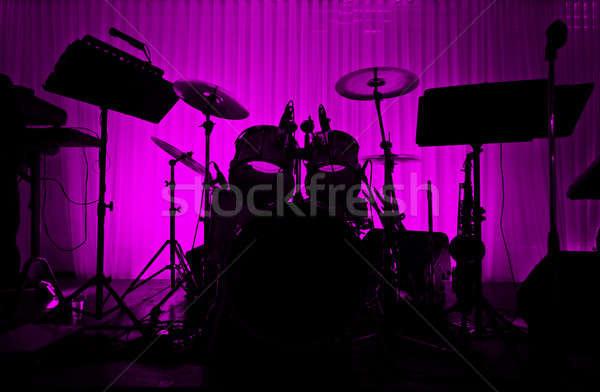 барабан силуэта нет музыканта пусто этап Сток-фото © aetb