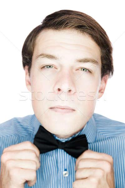 Jóképű úriember csokornyakkendő izolált fehér divat Stock fotó © aetb
