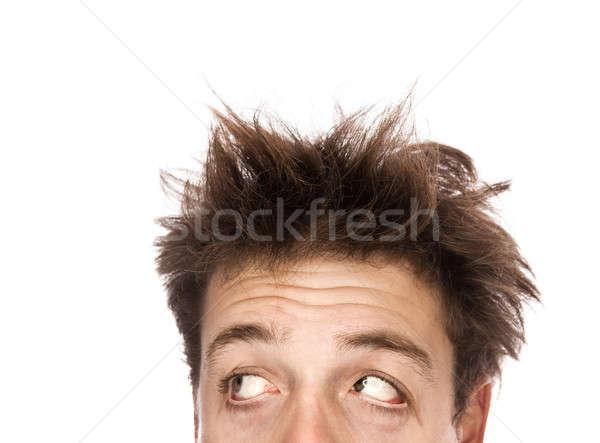 Kimerült férfi néz izolált fehér Stock fotó © aetb