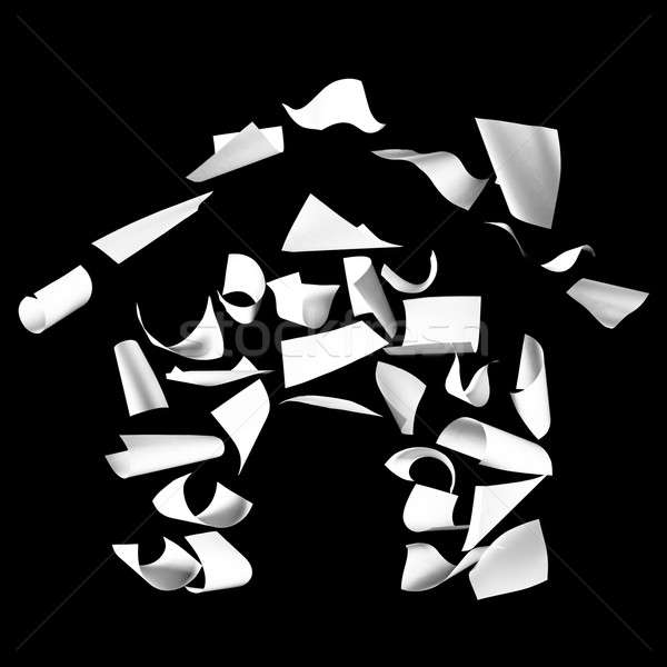 Home shape made of sheets of paper Stock photo © aetb