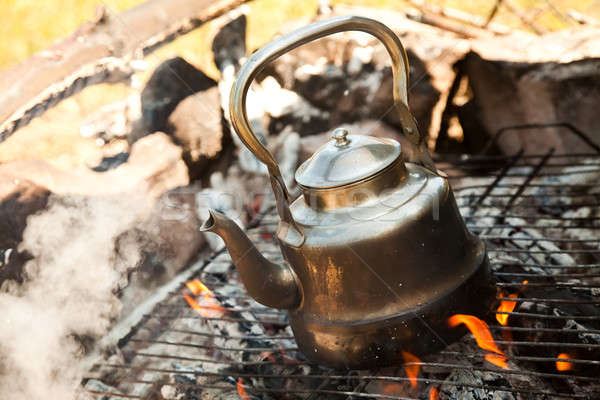Kettle with water heated on the fire Stock photo © aetb