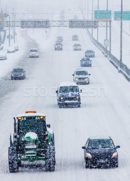 Stok fotoğraf: Araba · karayolu · kış · gün · doğa · kar