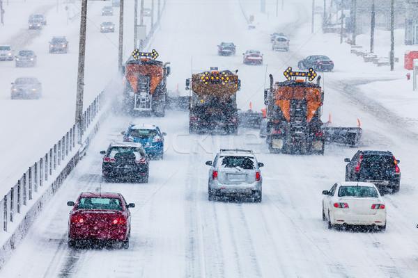 Drzewo autostrady zimno zimą dzień drogowego Zdjęcia stock © aetb