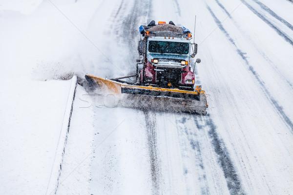Stok fotoğraf: Kar · karayolu · kamyon · soğuk · kış · gün