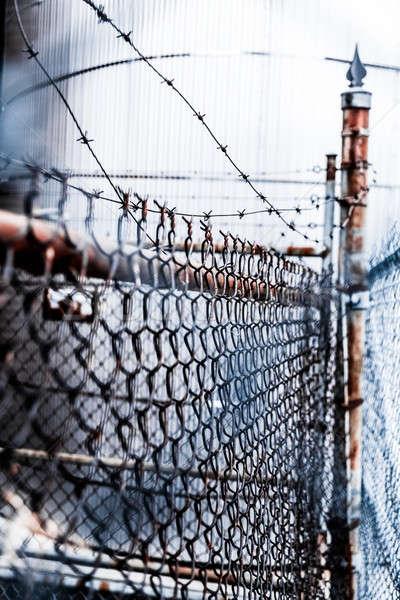 Drutu ogrodzenia zardzewiałe zewnątrz stali armii Zdjęcia stock © aetb