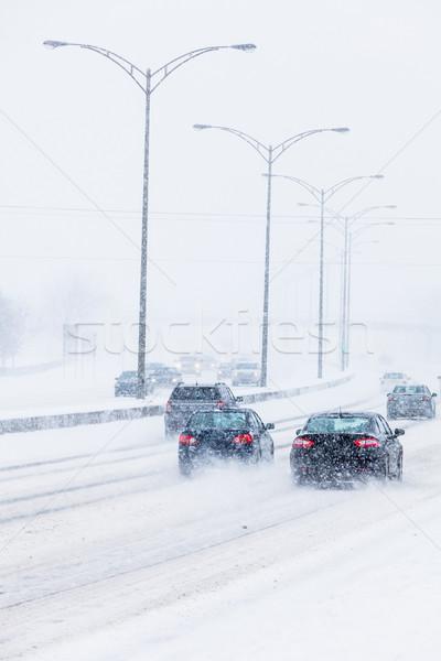 Sneeuwstorm weg slechte zichtbaarheid alle logo Stockfoto © aetb