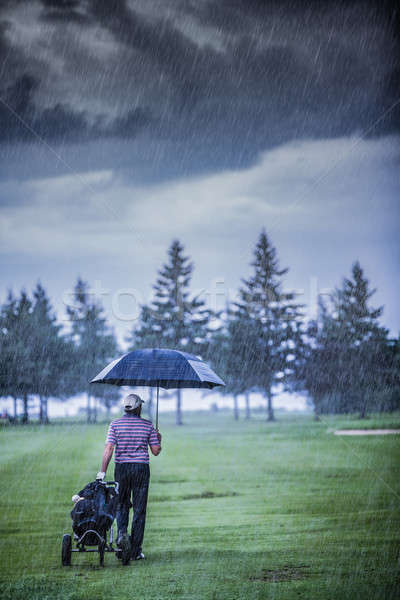 Golfer on a Rainy Day Leaving the Golf Course Stock photo © aetb