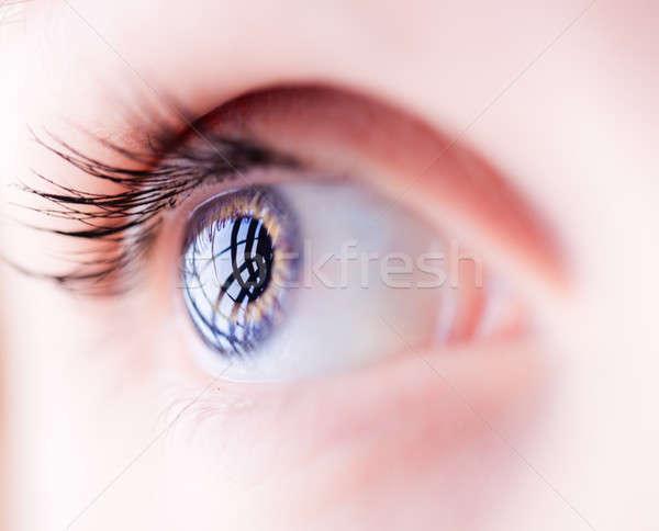 Closeup of a blue female eye Stock photo © aetb