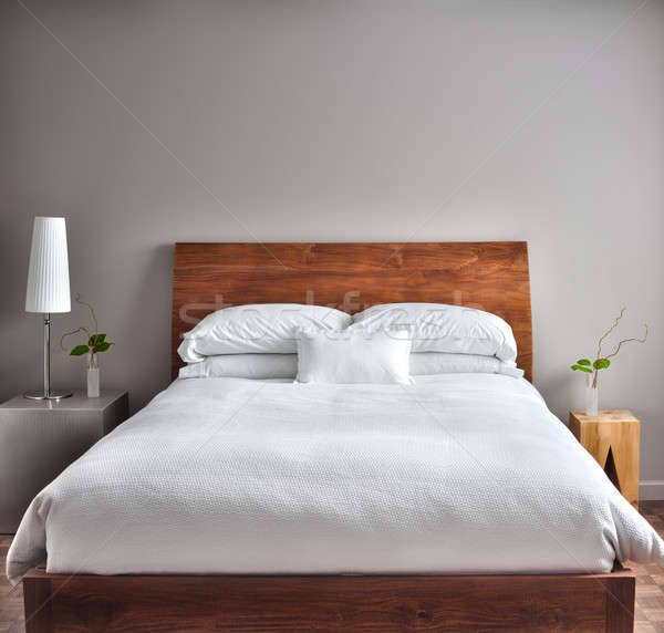 Güzel temizlemek modern yatak odası boş duvar Stok fotoğraf © aetb