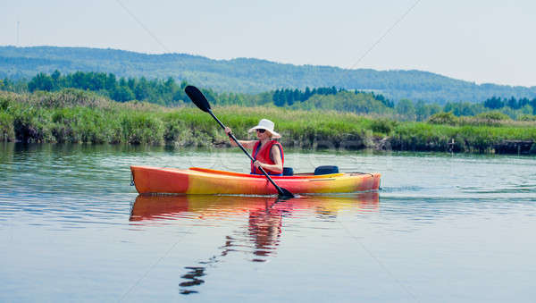 Woman With Safety Vest Kayaking Alone on a Calm River Stock photo © aetb