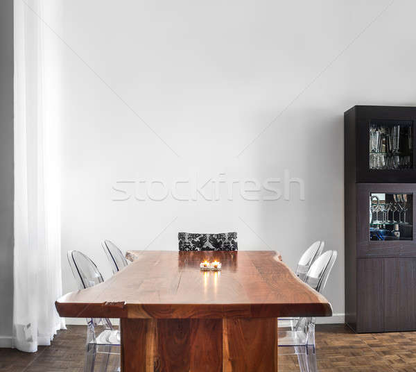 Modern and Contemporary dining room table and decorations. Stock photo © aetb