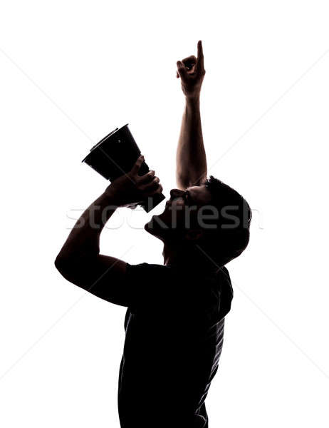 Man yelling in a megaphone Stock photo © aetb