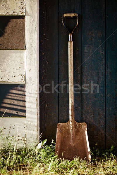 古い ヴィンテージ 金属 シャベル 錆 青 ストックフォト © aetb