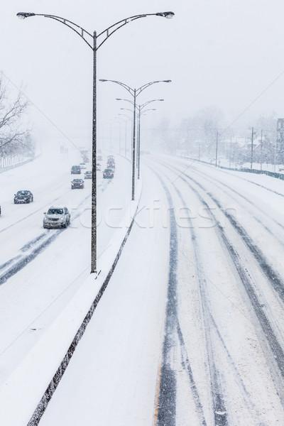 Karayolu üzerinde soğuk kar fırtınası gün Stok fotoğraf © aetb