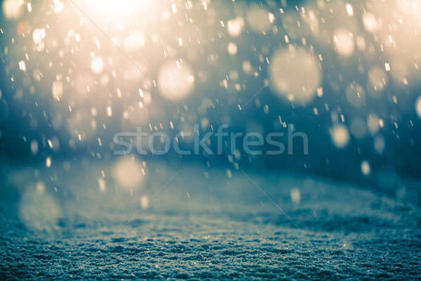Snowing at Night and Backlight Stock photo © aetb