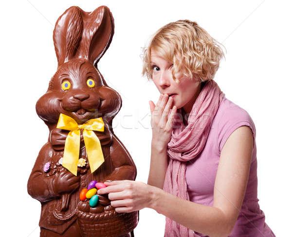 Ragazza rubare easter eggs cioccolato coniglio Foto d'archivio © aetb