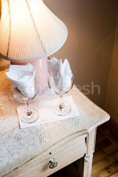 Welcome Card on a Bedside Table Stock photo © aetb