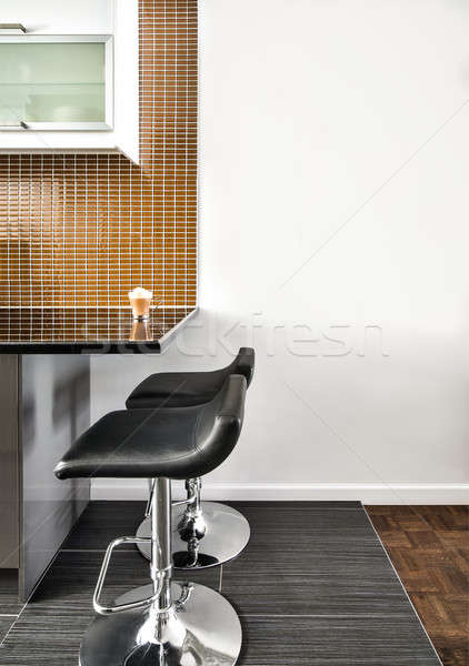 Modern Interior Room with beautiful Counter and Stools Stock photo © aetb