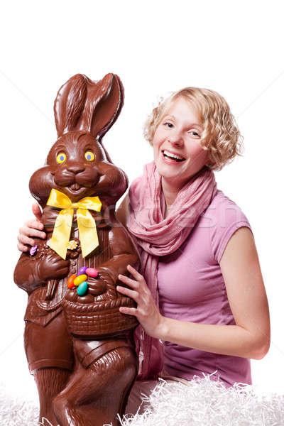 少女 笑い 巨大な チョコレート イースターバニー ストックフォト © aetb