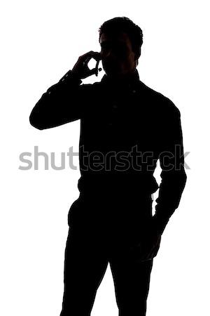 Stok fotoğraf: Erkek · siluet · kulaklık · yalıtılmış · beyaz