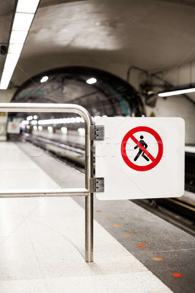 Safety Interdiction Sign (Do not Cross) on a Subway Platform Stock photo © aetb
