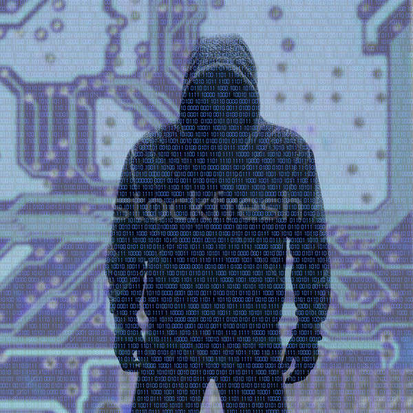 Hacker in Silhouette with Binary codes in Background Stock photo © aetb