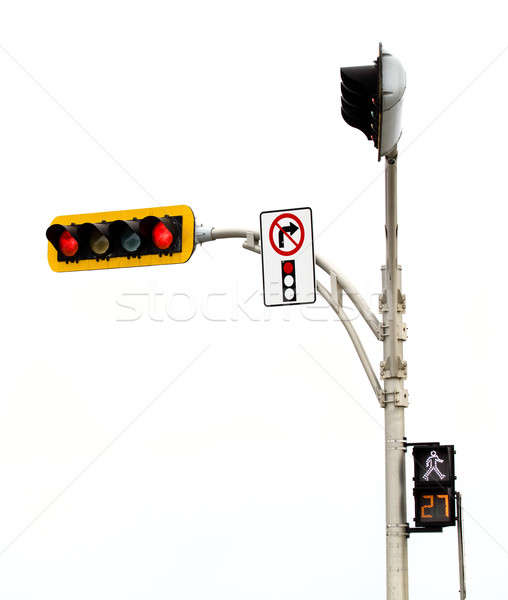 No Right Turn on red Light Intersection Isolated On White Stock photo © aetb