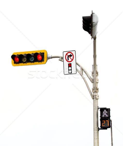 Keine richtig drehen Rotlicht Kreuzung isoliert Stock foto © aetb