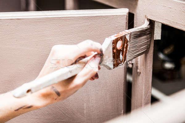 Kişi boyama mutfak fırça boya Stok fotoğraf © aetb