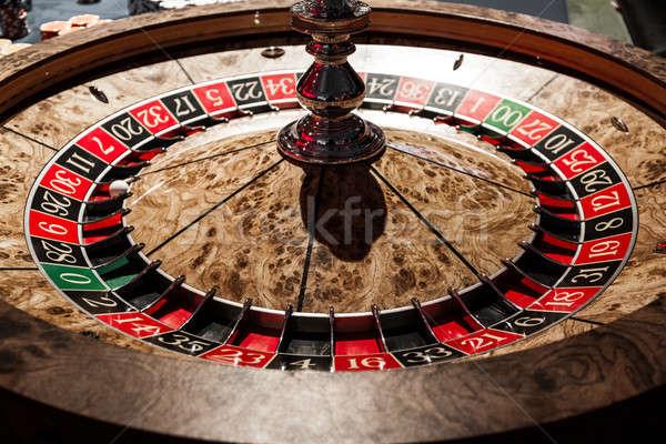 Fából készült fényes rulett részletek kaszinó stílusos Stock fotó © aetb