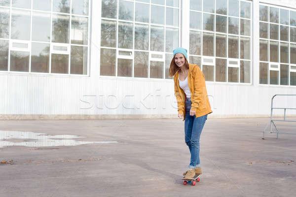 Estudiante skateboard otono sol verano educación Foto stock © Agatalina