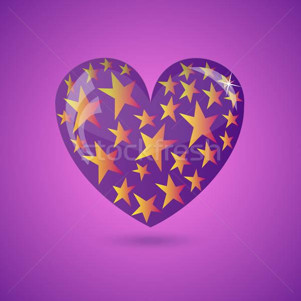 Vector Illustration - Glass Heart With Stars Stock photo © Agatalina