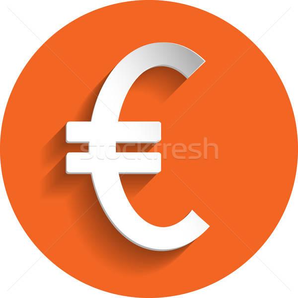 евро икона бумаги стиль изолированный оранжевый Сток-фото © Agatalina
