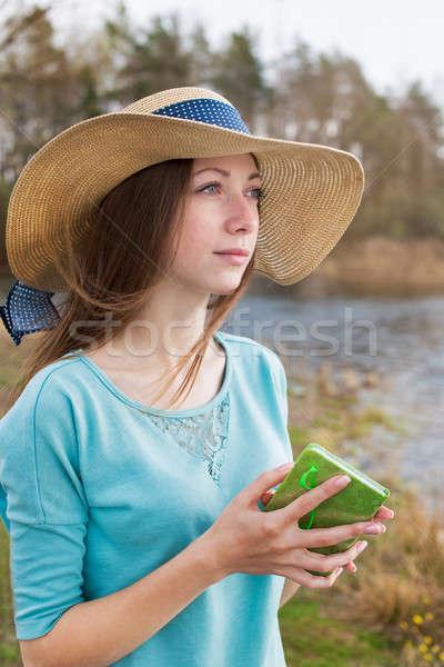 そばかすのある 少女 帽子 立って 注記 ストックフォト © Agatalina