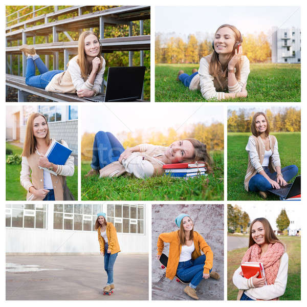 Photo collage of student at campus Stock photo © Agatalina